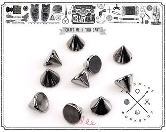 NO SHIPPING Fee 100Pcs 8mm Acrylic Gunmetal SPIKE sew on Cone Spikes Beads Sewing Charms Pendants Decoration.