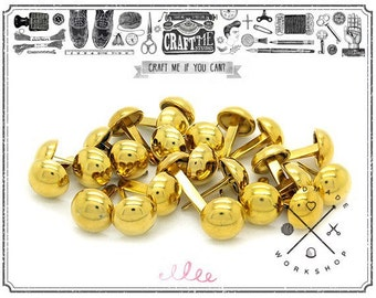 50PCS 15MM GOLD Round dome purse feet studs NAILHEADS.