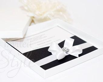 Boxed wedding invitation, black and white, open pocket style - PERSONALISED SAMPLE