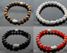 Buddha Mens Bracelet, Beaded Bracelet, Unisex Bracelet With Jute Twine Gift Bag