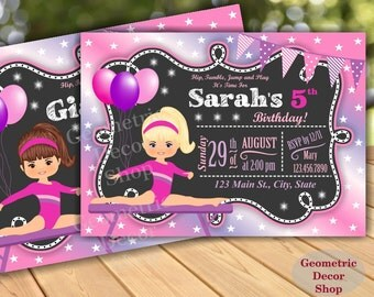 GYMNASTIC Birthday Invitation / Gymnastics Invitation / Gymnastic Invitation / Party Invite / Gymnastic Invitations / Girl Pink Purple BDG7