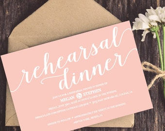 Rehearsal Dinner Invite, Wedding Invites, Rehearsal, Dinner Party, Pink Invites