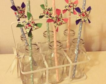 Set of 6 Glass Mini Milk Bottles in a Metal Holder with Paper Fan Straws