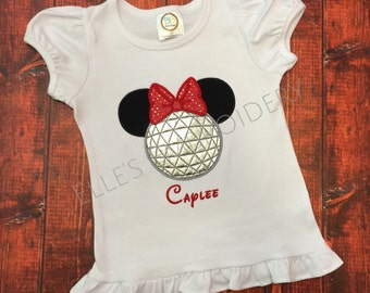 Minnie mouse ruffle shirt (Epcot)/ Epcot minnie shirt/ Minnie applique tee