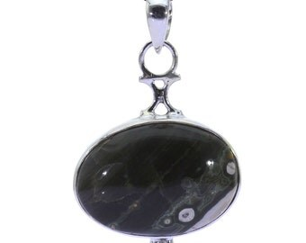 Ocean Jasper Pendant, 925 Sterling Silver, Unique only 1 piece available! color green, weight 6.3g, #36819