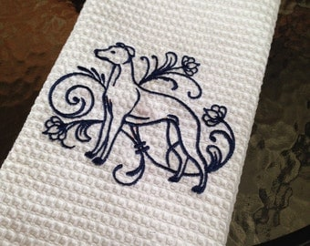 White Waffle Tea Towel Embroidered with a Standing Whippet in Navy - Whippet Lover