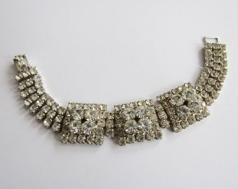 LOTS of SPARKLE Vintage Rhinestone Evening Bracelet