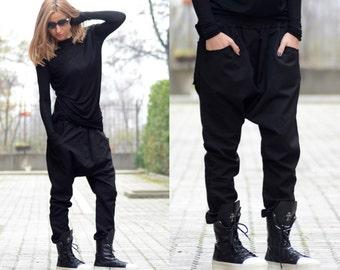Drop Crotch Pants/ Harem Pants/ Baggy Pants/ Women Black Pants/ Loose Pants/ Oversize Pants/ Loose Fitting Pants/ Aladdin Pants
