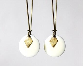Earrings white cream enamel Sequins