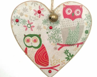 Owl wooden Christmas tree decoration/hanging heart