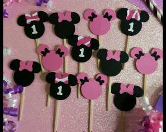 12 Minnie Mouse Cupcake Toppers