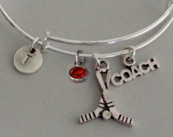 FIELD HOCKEY Coach  Bangle Bracelet Personalize W/ Initial / Birthstone Drop / Under Twenty - Gift For her - Made in Usa H1
