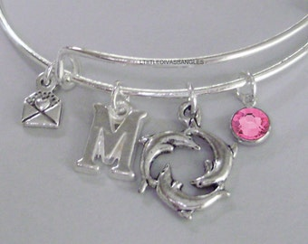 Dancing DOLPHINS BANGLE W/ Birthstone And INITIAL  and A Silver Made With Love Drop Adjustable Bangle / Gift For Her Usa