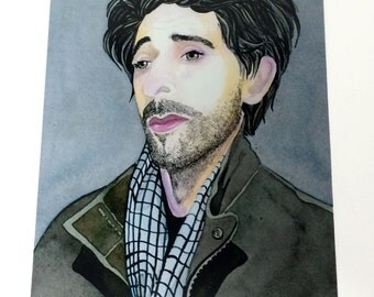 Adrien Brody Celebrity Fan Art Print, Gift for Film Buff, Gifts for Movie Lovers, Watercolor Celebrity Portrait Wall Art, Movie Fan Wall Art