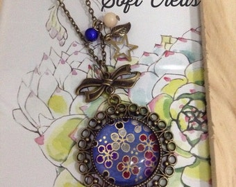 Sakura Jewelry - Necklace,Flower,Washi Paper,Japanese,Blue and Red Flowers,Cabochon glass,Flowery Paper,Colors Beads,Leaf and Star Charms