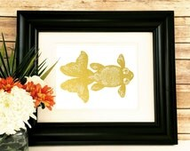 Goldfish Print Gold Foil Wall Art home Decor Nautical Print