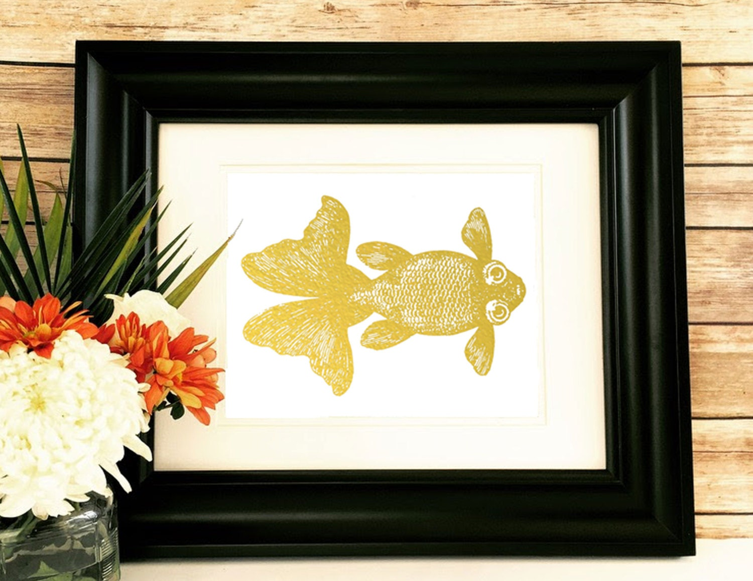 Koi fish home decor koi fish goldfish print livingroom for Koi home decor