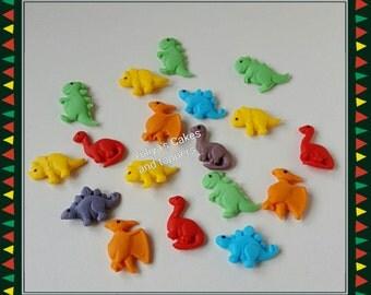 18 Edible mini dinosaur cake/cupcakes topper,birthday/boy/girl,handmade,fondant,animals