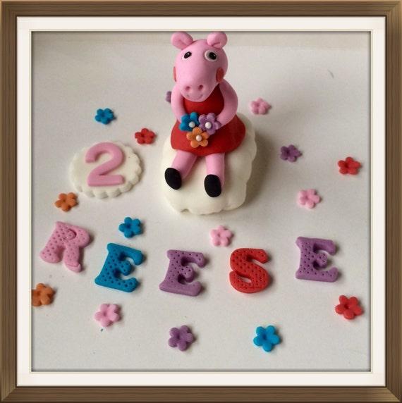 Edible Cake Images Peppa Pig : Edible handmade Peppa Pig cake toppersugarpaste