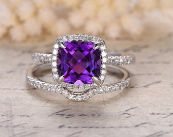 amethyst engagement ring set8mm cushion cut stone14k white golddiamond curved - Amethyst Wedding Rings