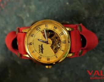 Women watches coral leather wrist strap, wrist watch, ladies watch, women watches, watch strap, leather watch, wrap watches, steampunk watch
