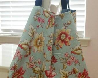 Shabby chic floral fabric tote bag,Eco friendly bag, Fabric tote bag,Handmade summer bag.