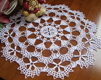 Crochet round lace doily bruges dentelle white cotton placemat summer napkin handmade home decor wedding unique birthday gift for her sister