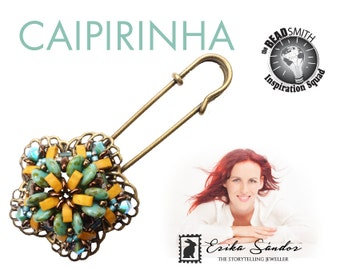 Caipirinha brooch - instant dowload for the pdf instructions for a top-notch beadwork project!