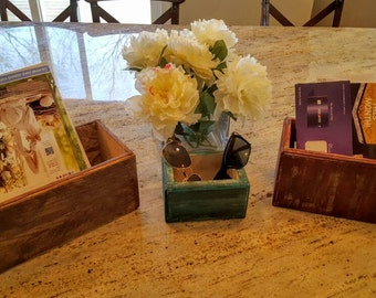 3 handmade rustic wood boxes.made to order