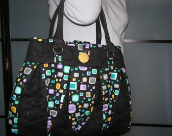 Handbag black and printed colours
