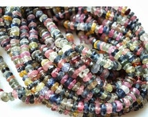 ON SALE 50% 5 Strands, Wholesale Multi Sapphire Faceted Rondelles/ Sapphire Beads/ Rondelle Beads/ 3mm To 3.5mm Beads/ 15 Inches Each