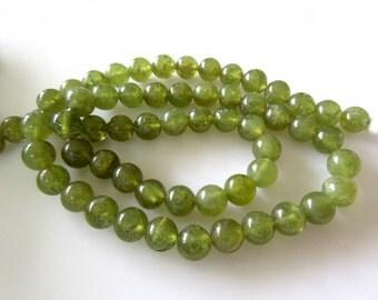 Vessonite Green Garnet Smooth Round Beads, 6mm Each, 13 Inch Strand, GDS245