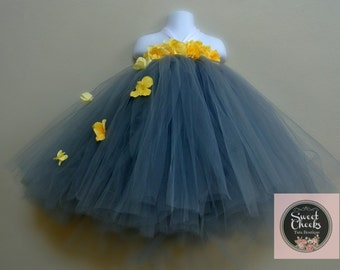 Grey Flower Girl Dress, Grey and yellow, Flower girl tutu, Toddler tutu dress, Grey toddler dress, Yellow flower girl dress, Fairy costume