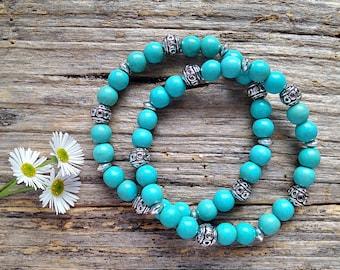 Turquoise & Tibetan Bead Bracelet Set