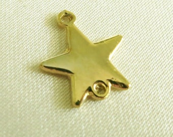 11mm Double Loop / Gold Vermeil Star Pendant / Connector / Link - One Each