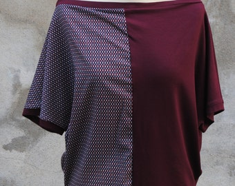 Reversible T -Shirt short sleeve jersey viscose Bordeaux and white blue bordeaux weight pattern