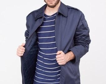 Vintage sailor jacket, sailor uniform navy jacket zip up men' s outwear, blue men' s maritime jacket size M medium L large