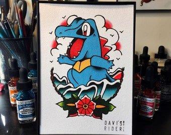 Totodile Tattoo Flash Print