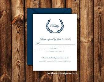 Elegant Navy Blue and White Wedding Invitation RSVP Reply Card Traditional Boho Blue Crest Royal Leaves Printable Digital File or Printed