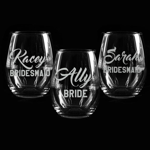 Custom etched glass vinyl decals bridesmaids gifts for Etched glass vinyl lettering