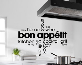 "KITCHEN  ""BON APPETIT"" Montage  - vinyl wall art sticker quote home decoration"