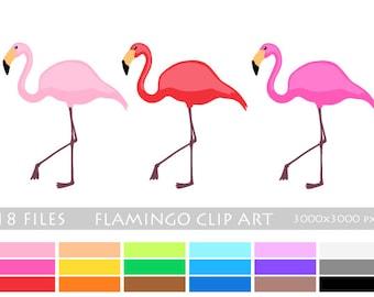 FLAMINGO Animal Bird Silhouette Props 18 Color Clipart Set Digital Illustration Scrapbook