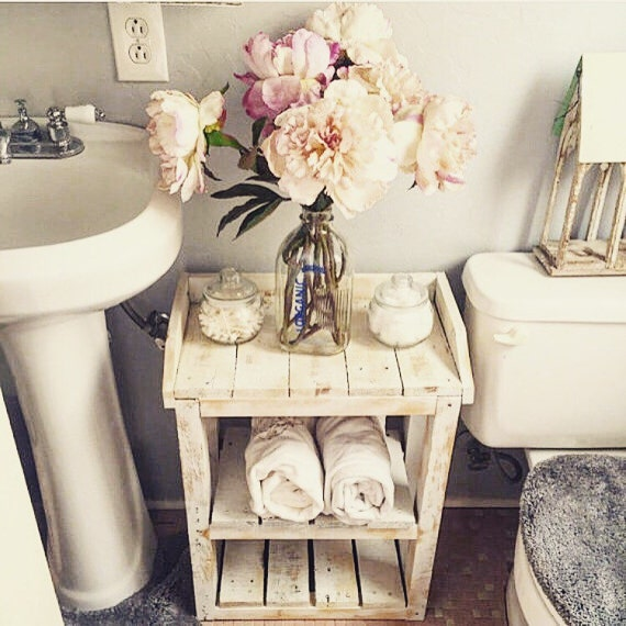 Shabby chic wood bathroom shelves for Bathroom decor etsy