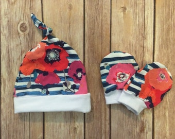 Baby knot hat, and no scratch mittens, girls newborn set, floral