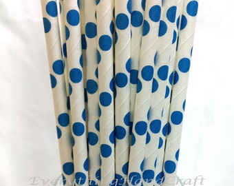 Paper Straws |Wedding Birthday Party Baby Shower Christmas Decoration |Food Safe Straws Vintage Retro |White Blue Polka Dot (25 pcs)