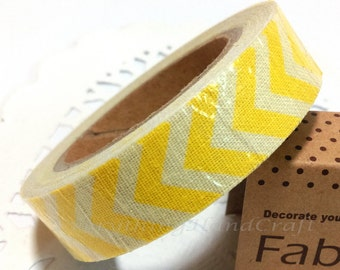 Sticky Tape / Cotton Fabric Adhesive Tape / Korea Decorative Masking Tape Scrapbooking Tools Favor Stationery/ Ivory Yellow Chevron
