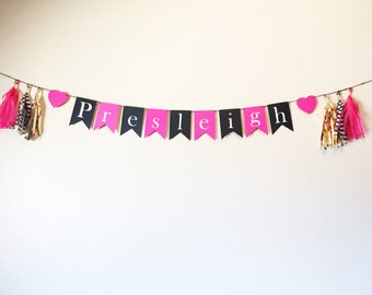 Name Banner | Pink, Gold, and Black Banner | Birthday Banner | Party Decor |  Party | Tassel Garland | Tassel Banner | Home Decor