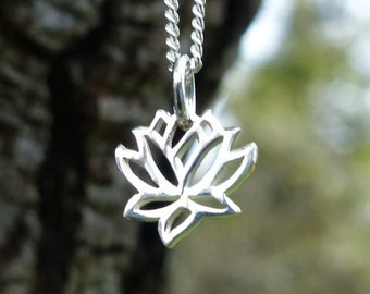 Lotus Yoga Jewelry Spiritual Necklace 925 Sterling Silver Small Lotus Flower Charm Tiny Pendant Girl Child Dainty Children Minimalist 868