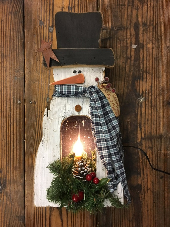 Rustic Primitive Lighted Snowman