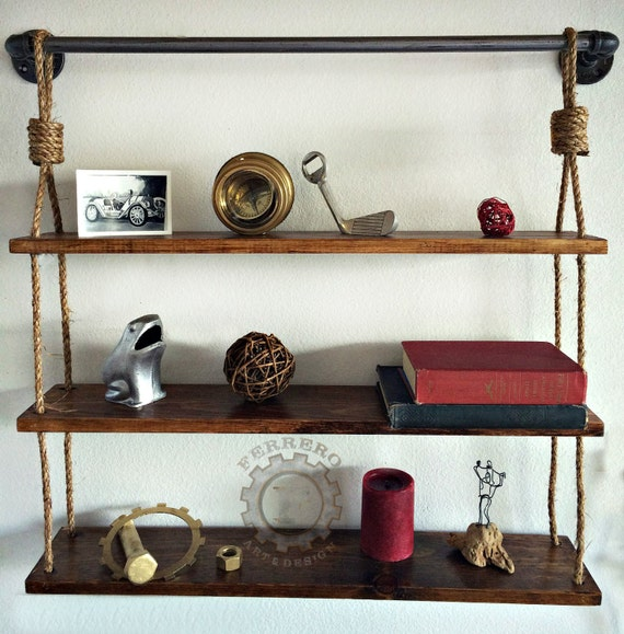 Affordable Rustic Hanging Shelf Shelves Pipe Book With